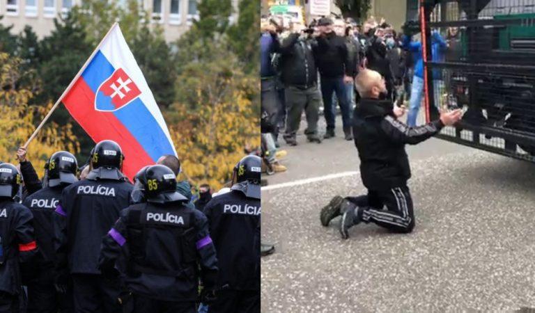 Brutálne zábery z protestu Slovákov v Bratislave: Bolo použité vodné delo! (VIDEO)