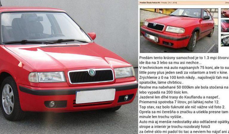 Inzerát Slováka na starú škodu felíciu nemá obdoby: Auto má iba menšie nedostatky!